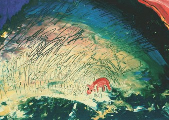 Small creature in an unruly landscape (gouache 1995) Nancy Willis