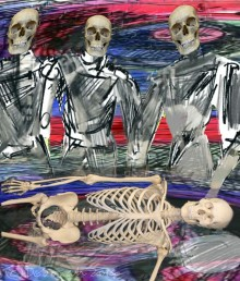 Three figures, drawn in a loose sketchy style, skulls, no hair or flesh, stand over a horizontal skeleton. The background is swirling dark blue, pink and red.
