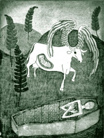 Cows and angels (etching  1995) Nancy Willis