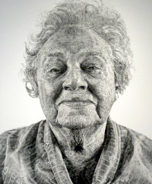 Chuck Close portriat of a woman