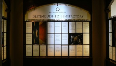 photo of a display in a room in the institute dedicated to benefactors