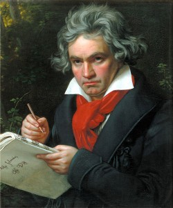 oil painting of the composer Beethoven with pen and paper in hand