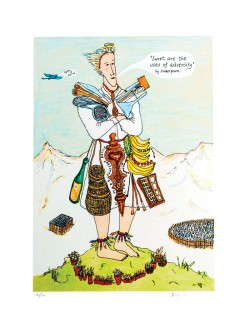 Bobby Baker's Battle Hardened, a drawing depicting a giant figure towering over mountains with kitchen utensils around their neck and artist's tools on their belt.