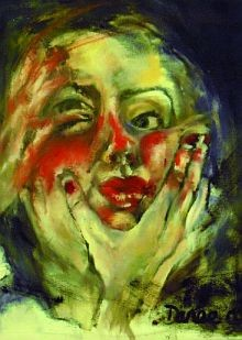 painting of a woman's head showing a hand clasped around the throat