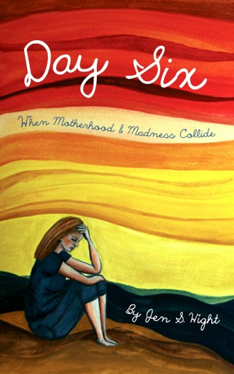 cover illustration for a memoir by Jen S Wight, showing a woman with head in hands below the title lettering against a yellow and red background