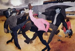 Edward Burra watercolour of a straw man being kicked around by a group of men