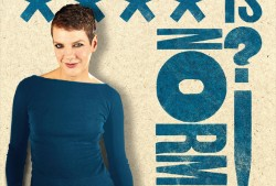 front cover image of Francesca Martinez in a blue dress with the letters of the title 'NORMAL' running down the right side of the image
