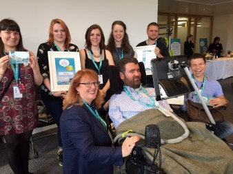 Photo of Euan's Guide Founder, Euan MacDonald with disabled access award winners from Edinburgh Fringe Festival