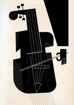 Cello Rain #12 Illustration by Mick Marston, inspired by the poem of the same name by Graeae's Sean Burn. This stylised black and white illustration shows a hand playing a cello.