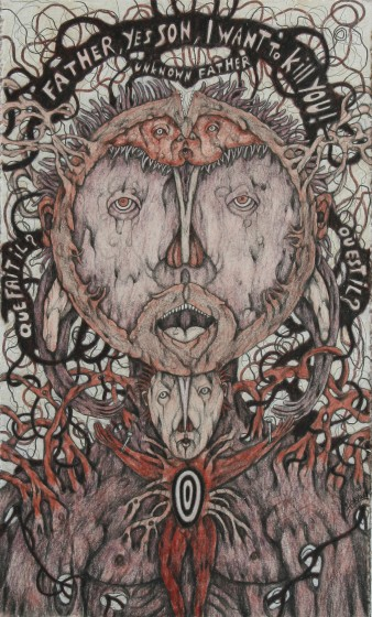 Joel Lorand, Father, 2010. A drawing featuring a moon-like face, with a crucified figure underneath. Vein-like tubes emanate outwards.