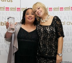 Portrait of Lizzie Emeh and Mari Wilson at the AMI award ceremony