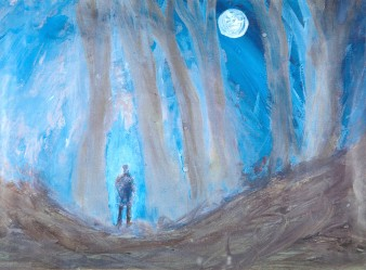 watercolour of a dark figure in a wood under a full moon