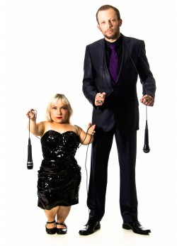 photo of comedians Kiruna Stamell and Gareth Berliner against a white background.