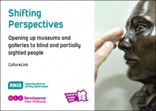 cover image of the book Shifting Perspectives showing a gloved hand touching a bronze sculpture of a face
