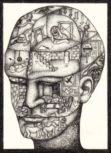 drawing of a bald head with lots of rooms pictured inside the skull