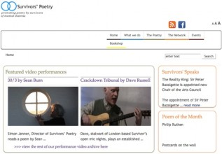 screenshot of the homepage of the survivors poetry website