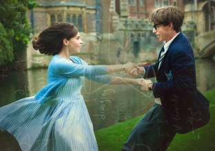 still of ddie Redmayne & Felicity Jones as young lovers whirling each other around outside university walls
