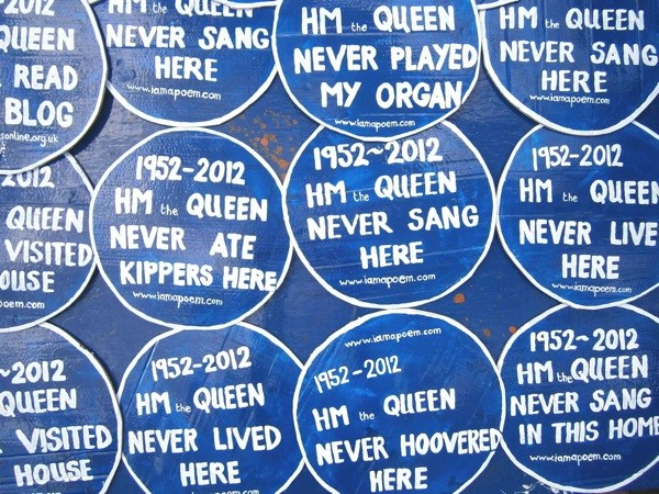 a series of blue plaques about things  HM The Queen Never DId