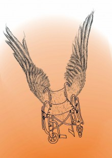 on a graduated background, white to gold, a rather wonky sketch of a wheelchair utilizes a pair of pen and inked wings to look impressive.