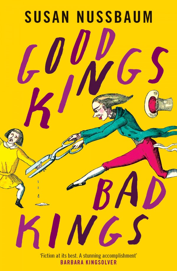 yellow book cover with a comic-style illustration of a woman with a giant pair of scissors cutting off the hand of a young girl