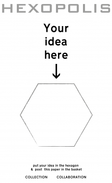 Hexopolis: Your Idea Here. A sample template sheet for participants to add their ideas about hexagons and cities.