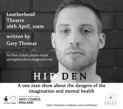 Postcard layout advertising the show Hidden, with a pic of Jonny Collis