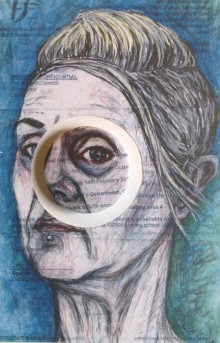 Chalk self portrait drawing on hospital appointment letter made into a badge of wearable misery art.