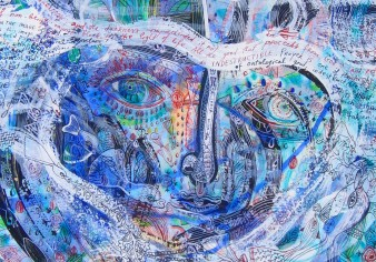close up of face in a painting surrounded by ribbon-like threads of words