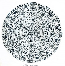 Monochrome mandala image. Pencil