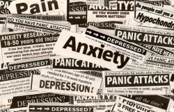 array of newspaper headlines around anxiety, depression and other mental health issues