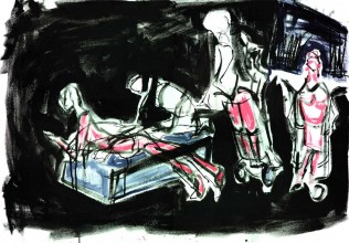 mix media drawing of a scene from play