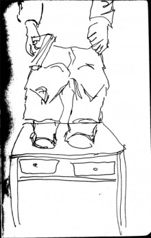 sketch by tanya raabe of the dwarf on table