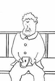 Cartoon of an elderly lady sitting on a bench clutching a handbag