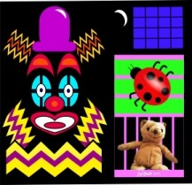 A picture of a clown-like figure, ladybird and teddy-bear.
