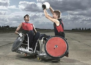 photo of two wheelchair basketball players