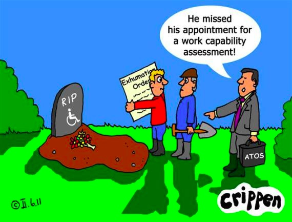 Crippen cartoon showing a drawing of two men standing alongside a grave that has a gravestone that reads 'RIP along with a wheelchair symbol.