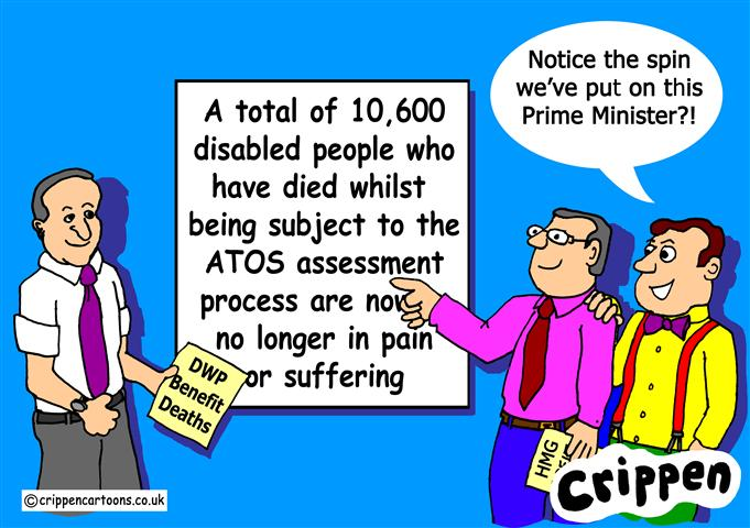 Crippen ATOS cartoon with a wry comment on David Cameron's attitude to ATOS and the work capability assessment