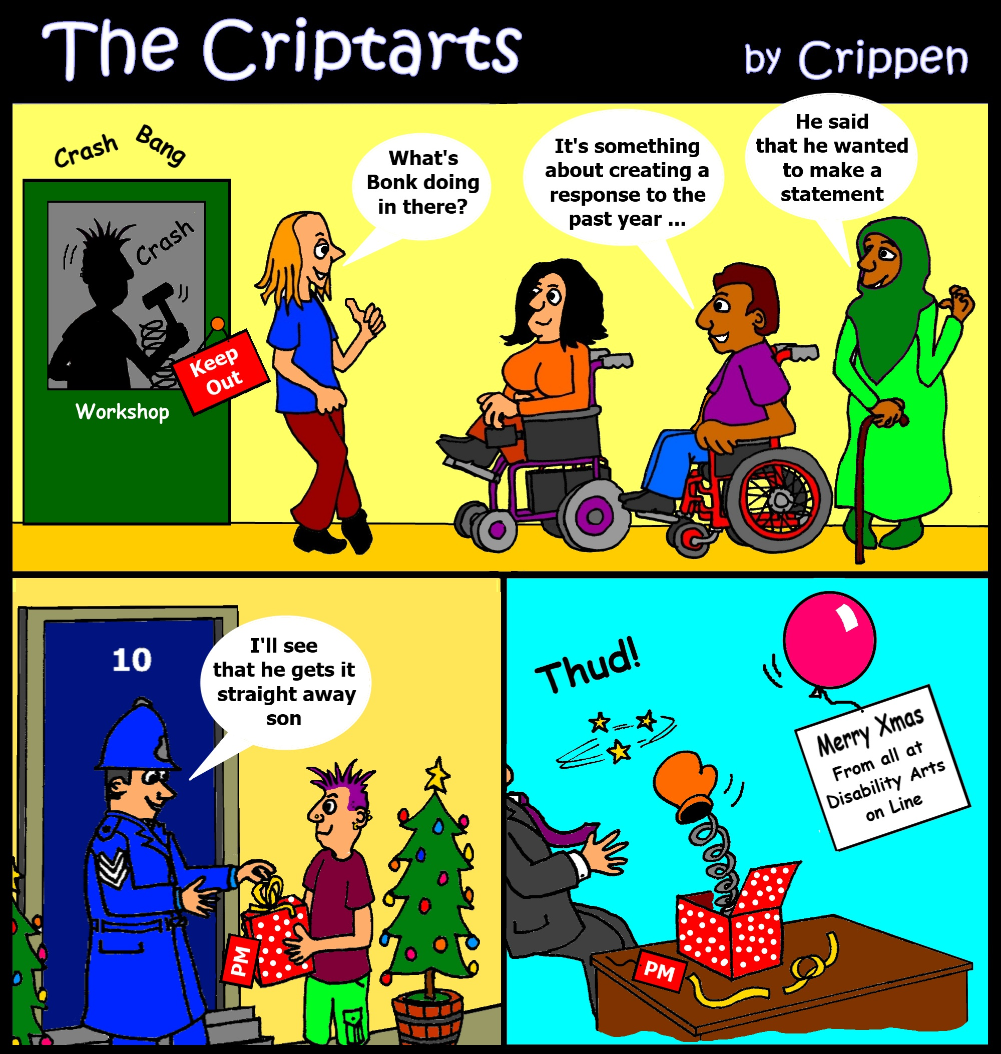 The Criptarts deliver a personal message to Downing Street for Christmas