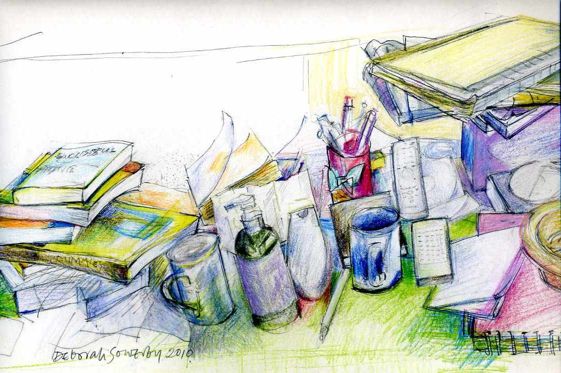 Drawing of a jumble of everyday objects on a coffee table.