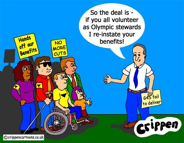 Crippen's cartoon about Cameron making a deal re benefits