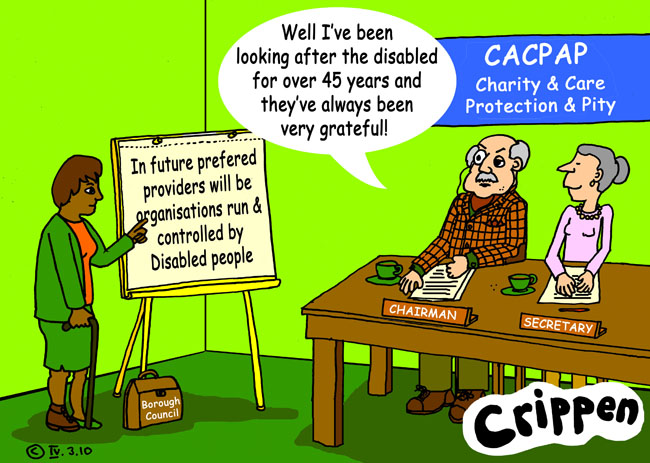 Crippen's cartoon about the change towards User Led Organisations