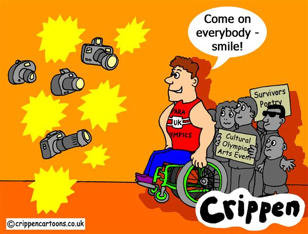 Crippen's cartoon about Super Crips sharing the limelight