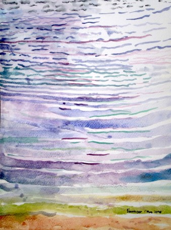 watercolour of a series of ripples on the surface of water