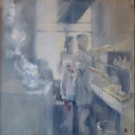 Café in Rue Rambateau (Oil on Canvas. 30x30cm) by Andrew Roberts