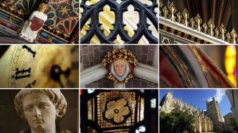 split screen postcard image showing nine seperate views of features from Exeter Cathedral