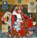 The artist Leni D. Anderson uses the style of religious painting from the medieval past. In the centre, the figure of Jesus floats on clouds surrounded by symbols including an upsidedown cross and  a horse being swallowed by a snake.
