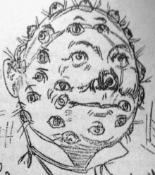 black and white image of a face covered in eyes