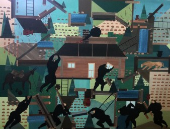 Andrea Joyce Heimer, The Rebuild Of My Grandmother's Cabin In Lincoln, Montana, 2015. A colourful piece featuring black figures building a cabin in a very stylised manner.