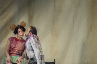 photo of dancer Amy Butler with bunny ears being kissed by David Toole