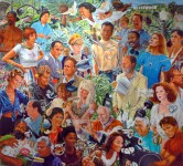 Brightly coloured painting by Martin Charlot crammed full of portraits of people from the Los Angeles film industry. Each person is shown with a tool relating to their creative life, like a script or scissors, which burst from their chest